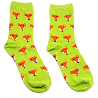 Цветные носки зеленые с лисой