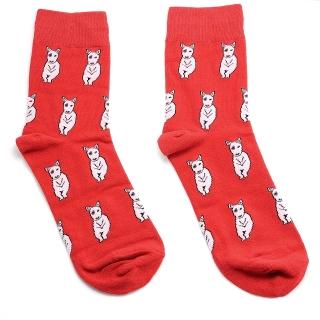 Красные носки с бультерьерами