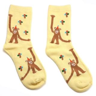 Купить бежевые носки с обезьянками