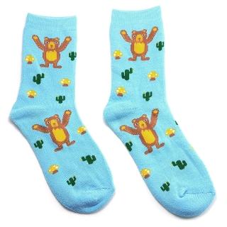 Махровые голубые носки с медведями