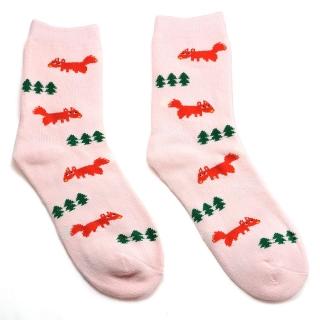 Розовые махровые носки с лисицами