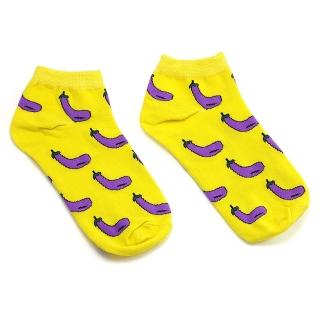 Носки желтые с баклажанами