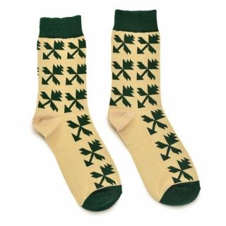 Бежево-зеленые носки из хлопка