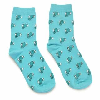 Носки голубые со слониками