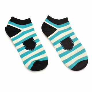 Короткие носки в бело-голубую полоску