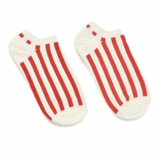 Носки #051 белые (красные полосы)