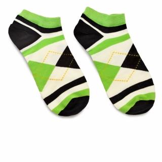 Носки с зелеными и черными ромбами и полосками