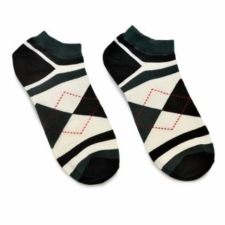 Черно-белые носки с ромбами и полосами из хлопка