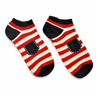 Короткие носки в красно-белую полоску