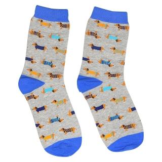 Серые носки с цветными собаками