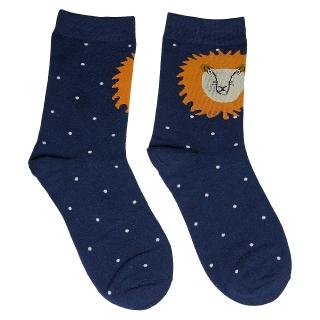 Темно-синие носки в горошек со львом