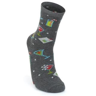 Купить модные темно-серые носки из качественного хлопка с рисунками мартини.