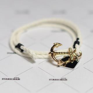 Купить белый браслет с якорем