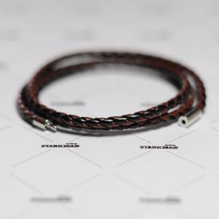 Коричневый браслет плетеный