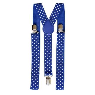Купить подтяжки в горошек синего цвета