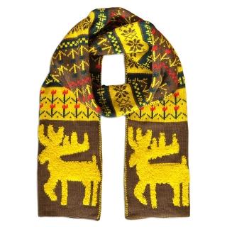 Купить коричневый шерстяной шарф с оленями