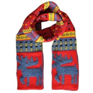 Купить красный шерстяной шарф с оленями