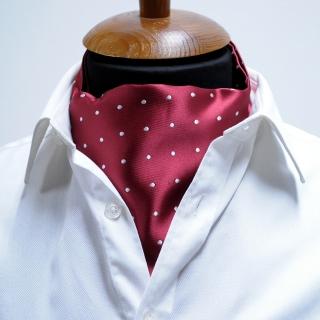 Купить бордовый галстук Аскот в горошек