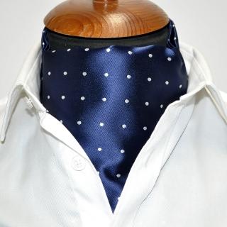 Купить синий галстук Аскот в горошек