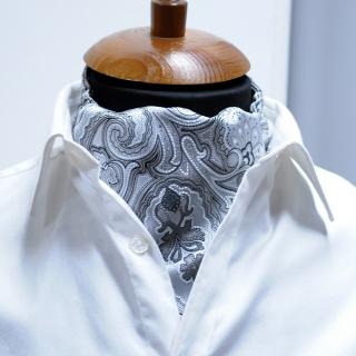 Купить серебристый галстук Аскот шейный платок