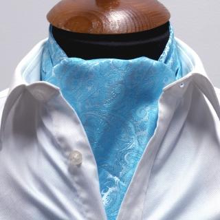 Купить голубой галстук Аскот шейный платок