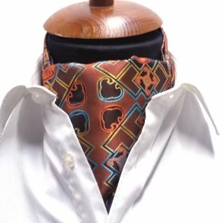 Купить галстук коричневый Аскот шейный платок