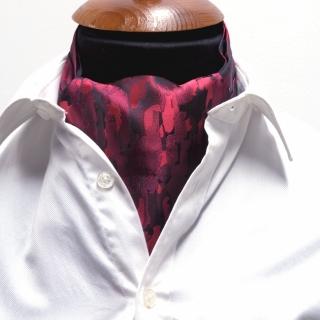 Купить галстук  Аскот шейный платок с бордовым узором