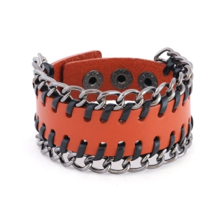 Купить коричневый кожаный браслет с цепями