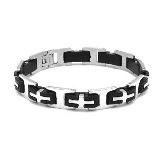 Купить стальной браслет с каучуковыми вставками