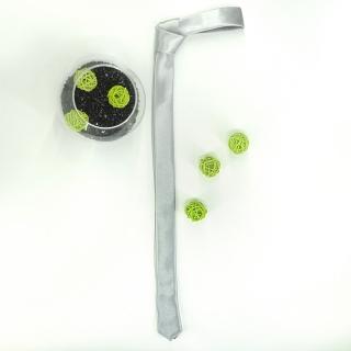 Супер узкий галстук #168 (серебряный)