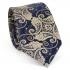 Купить узкий мужской галстук синего цвета с узором в виде огурцов thumb