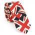 Купить узкий мужской галстук синего цвета с фактурным узором в виде флага thumb