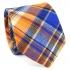 Купить узкий мужской галстук оранжевого цвета в клетку. thumb