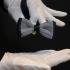 Вязаная галстук-бабочка в сине-белую полоску thumb