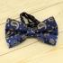 Модная галстук-бабочка синего цвета из плотной хлопковой ткани с узором в виде огурцов thumb