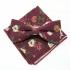 Бордовый набор бабочка-платок с цветочной окраской thumb