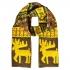 Купить коричневый шерстяной шарф с оленями thumb