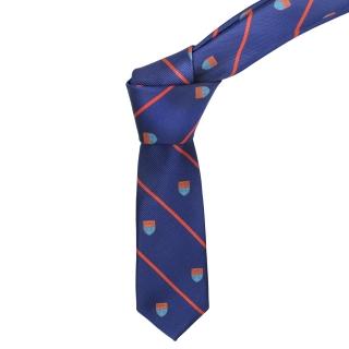 Купить узкий синий галстук с гербом