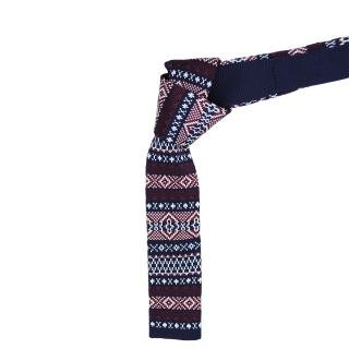 Темный вязаный галстук с узором