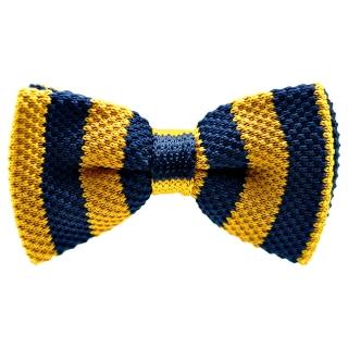 Вязаная бабочка синего цвета в желтую полоску