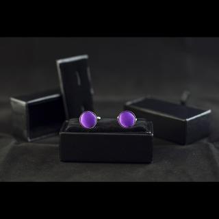 Мужские однотонные фиолетовые запонки
