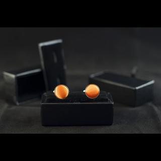 Однотонные оранжевые мужские запонки