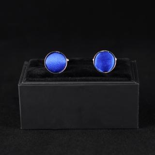 Шелковые запонки для мужчин синие