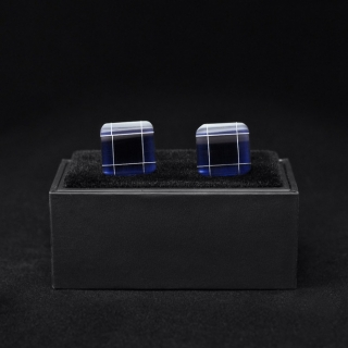 Запонки квадратной форме синие
