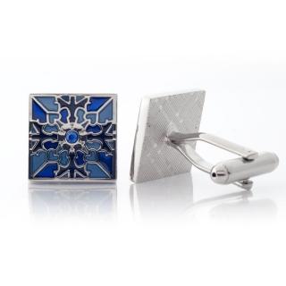 Купить запонки с орнаментом синие